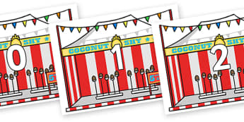 Numbers 0-31 on Fairground Coconut Stands - 0-31, foundation stage numeracy, Number recognition, Number flashcards, counting, number frieze, Display numbers, number posters