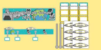 Nuestra línea de tiempo 2016-17 - spanish, Back to School, new start, new class, timeline, display, Scottish