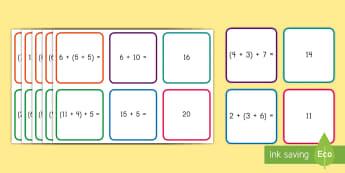 Associative Property of Addition Matching Cards - Associative Property, Addition, Equations, operations and Algebraic thinking, addition properties