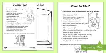 What Do I See? Activity Sheet  - young people, transition, PSHCE, change, self esteem, confidence, families, worksheet