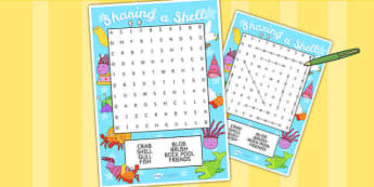 Word Search to Support Teaching on Sharing a Shell - word search, words, story book, game