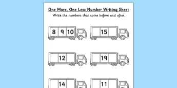 One More One Less Number Writing Activity Sheet Lorry - lorry, worksheet