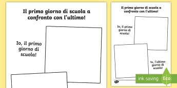 Disegna il primo giorno di scuola a confronto con l'ultimo Attività - primo, giorno, di, scuola, ultimo, giorno, di scuola, confronto, ritratto, disegno, disegnare, itali