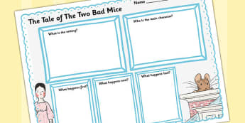 The Tale of Two Bad Mice Review Writing Frame - two bad mice, review