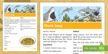 Shark Soup Pirate Recipe Step-by-Step Instructions - cooking, Food Technology, life skills, themed learning, sensory, practical activity
