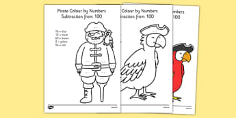 Pirate Themed Subtraction From 100 Colour by Numbers - pirate, subtraction, from 100, colour by numbers