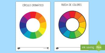 Círculo cromático - círculo cromático, rueda de colores, colores, color, colorear, arcoiris, pintar, ,Spanish
