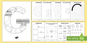 Consolidarea literei G Broșură  - alfabetul, alfabetar, litere, sunete, grafisme,Romanian