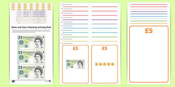 Workstation Pack: Notes and Coins Matching Activity Pack