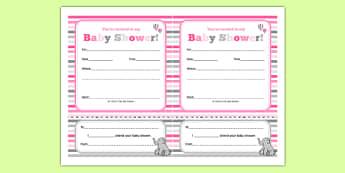 Baby Shower Invitation Pink Themed - baby shower, baby, shower, newborn, pregnancy, new parents, invitation