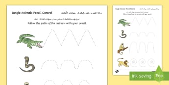 Jungle Animal Themed Pencil Control Sheets Arabic/English - EAL Jungle Animal-Themed Pencil Control Sheets - walking through the jungle, jungle, pencil control,