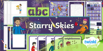 Twinkl Move - Year 1 Dance: Starry Skies Additional Resources - Dance Starry Skies, PE, Dance, Key Stage 1, KS1, Fireworks, Streamer, Movement, Year 1, Y1, Exercise