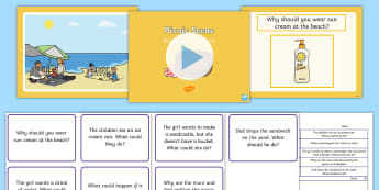 Picnic Scene Blanks Level 4 Questions PowerPoint - receptive language, expressive language, verbal reasoning, language delay, language disorder, comprehension, autism