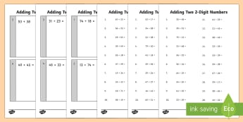 Adding Two 2 Digit Numbers Practice Worksheet / Activity Sheets - addition, number facts, Year 2, calculating, calculations,Australia