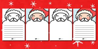 Santas Beard Letter Writing Template - santa, beard, letter