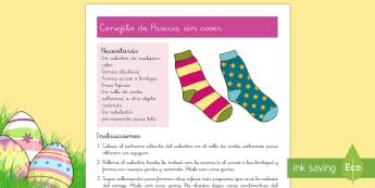 Manualidad: Conejito de Pascua sin coser - Semana Santa, Pascua, Holy Week, Easter,Spanish
