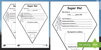 All About Me Superhero Emblem Activity Sheet, worksheet