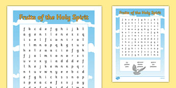 The Fruits of the Holy Spirit Word Search-Irish