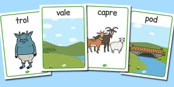Cele trei capre posace - Planșe cu imagini și cuvinte - cele trei capre posace, poveste, planșe, imagini, cuvinte, materiale, materiale didactice, română, romana, material, material didactic