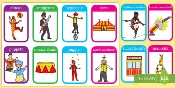 Circus Flashcards - visual aid, word cards, keywords, flash cards