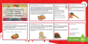 Fractions and Decimals Word Problems Christmas Maths Challenge Cards English/Spanish - Christmas Maths KS2, Y5, Year 5, Y6, Year 6, fractions, decimals, word problems, EAL