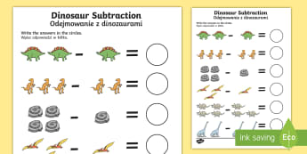Dinosaur Themed Subtraction Sheet English/Polish - Dinosaur Themed Subtraction Sheet - subtract, take away, numeracy, dinosuar, dinsaur, dinosour, subs