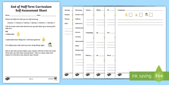 KS1 End of Half Term Curriculum Self Assessment Emoji Activity Sheet - assessment, self-assessment, end of unit assessment, end of topic assessment, self evaluation, Works