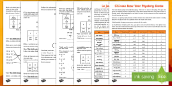 Chinese New Year Mystery Game Activity Sheet English/French - Chinese New Year KS1, EYFS, Celebration, festivals, rooster, mystery game, mystery maths game, KS1 m