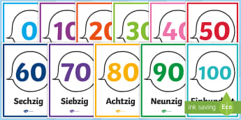 Numbers from 10 to 100 Counting in Tens Display Posters German - Numbers, Counting, German, maths, numeracy, mfl, modern foreign language, ten, hundred, display, pos