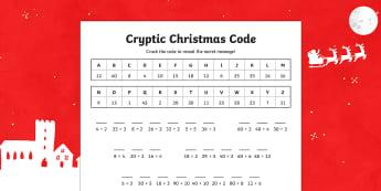 Cryptic Christmas Code Division Activity Sheet