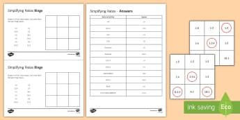 Simplifying Ratios Bingo - simplifying ratios, ratio, converting units, measurements.