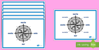Pósters DIN A4: Las direcciones del compás  - compás, direcciones, norte, sur, este, oeste, geografía, orientación, ,Spanish
