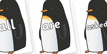 Tricky Words on Penguin to Support Teaching on Lost and Found - Tricky words, DfES Letters and Sounds, Letters and sounds, display, words