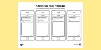 Replying to Text Messages Worksheet / Activity Sheet - Social Skills, social, sms, text, texting, text message, worksheet, text messaging, cell phone, repl