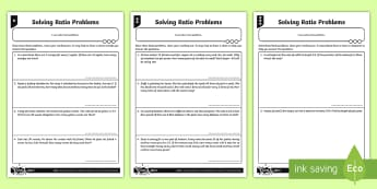 Solving Ratio Problems Differentiated Worksheet / Activity Sheets - Ratio and Proportion, ratio, word problems