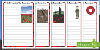 In November We Remember Writing Template - Remembrance, Key Stage One, Remembrance Day, Poppy, Poppies, Soldiers, Literacy, Template