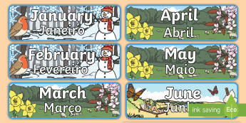 Months of the Year With Seasons Theme Display Posters English/Portuguese - months, year, display, months of the yearenglish, seaons, eal, portugal, portugese