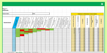 KS1 Mathematics Analysis Grid for 2017 SATs Assessment Spreadsheet - tracking progress, year 2, end of year, tests,