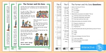KS1 The Farmer and His Sons Differentiated Comprehension Go Respond Activity Sheets - Develop pleasure in reading, motivation to read, vocabulary and understanding, Understand what they
