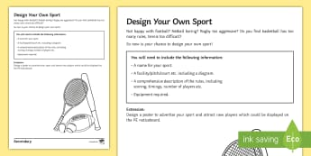 PE Cover Lesson - Design Your Own Sport Activity Sheet - PE, KS3, KS4, Cover, Worksheets, Independent