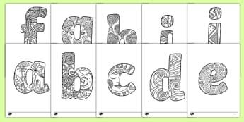 Coloriages anti-stress : L'alphabet en minuscules - arts plastiques, arts, couleurs, cycle 1, cycle 2, cycle 3, alphabet, lettre, minuscule