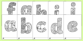 Lower Case Alphabet Mindfulness Patterned Colouring Sheets - lower case, alphabet, mindfulness, patterned, colour, colouring