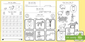 Letter Z Activity Pack - Alphabet Packets, Letter Z, Letter Formation, Letter Identification, Beginning Sound Activities, EYF
