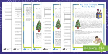 New Year's Traditions Around the World Differentiated Reading Comprehension Activity - New Year, New Years Eve, Resolutions, Traditions, Around the world