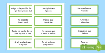 Opinion Phrases Word Cards