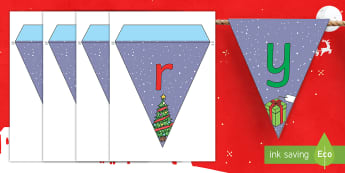 Merry Christmas Bunting English/Italian - merry christmas, bunting, themed bunting, display, flags, EAL