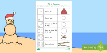 Roll and Draw a Snowman Activity Sheet