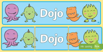 School Dojo Display Banner- behaviour management, rewards, points, homework rewards, class rules,