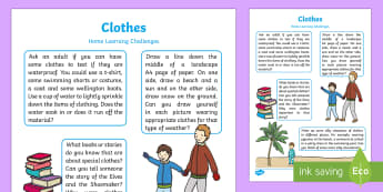 EYFS Clothes Home Learning Challenges Nursery FS1 - Early Years, home school links, homework, parents, home links, carers, weather, materials.