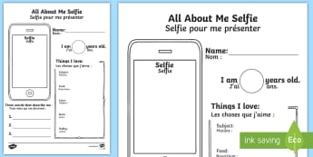 All About Me Selfie Writing Activity Sheet English/French - photo, selfie, mobile, transition, getting to know you, new class, beginning of year, iphone,Iphone,